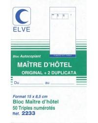 Elve Bloc Maître d'hotel, 150x85mm, 50 Triplicata autocopiants, 2233