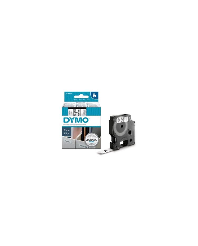 DYMO D1 Cassette de ruban à étiqueter, noir/blanc,12 mm x 7 m, S0720530, 43113
