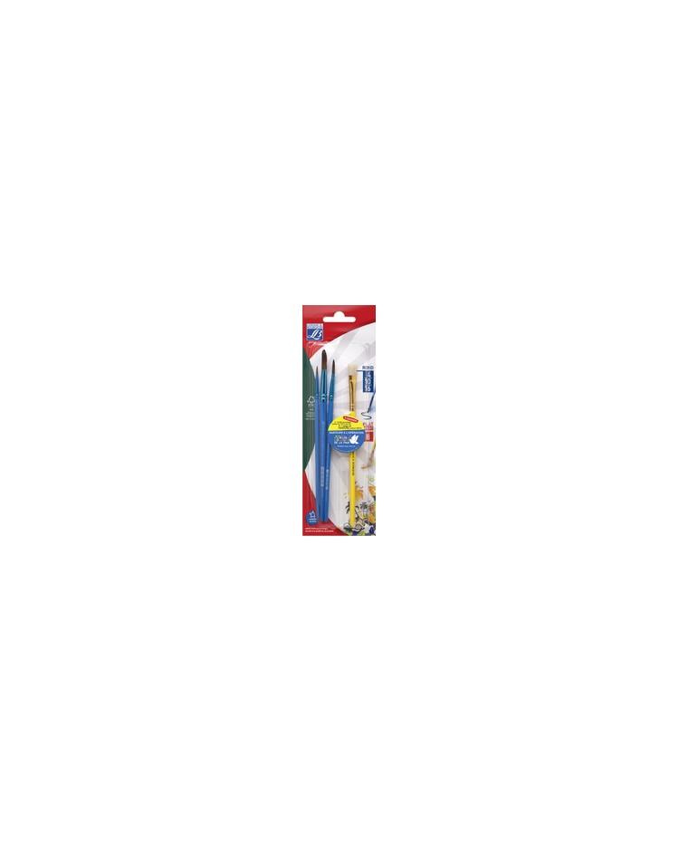 LEFRANC & BOURGEOIS Lot de 3 pinceaux Pony + 1 brosse, 807520