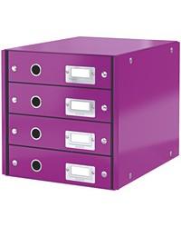 LEITZ Bloc de classement Click & Store WOW, 4 tiroirs, violet, 60490062