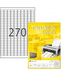 TOP STICK Etiquette universelle, 17,8 x 10 mm, blanc, 270 par feuilles, 8790