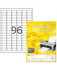TOP STICK Etiquette universelle, 30,5 x 16,9 mm, blanc, 96 par feuille, 8728
