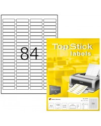 TOP STICK Etiquette universelle, 46 x 11,1 mm, blanc, 84 par feuille, 8724