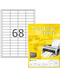 TOP STICK Etiquette universelle, 48,5 x 16,9 mm, blanc, 68 par feuille, 8729