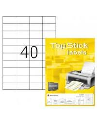 TOP STICK Etiquette universelle, 52,5 x 29,7 mm, blanc, 40 par feuille, 8696