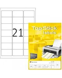 TOP STICK Etiquette universelle, 63,5 x 38,1 mm, blanc, 21 par feuille, 8699