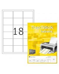 TOP STICK Etiquette universelle, 63,5 x 46,6 mm, blanc, 18 par feuille, 8735