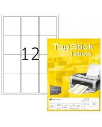 TOP STICK Etiquette universelle, 63,5 x 72 mm, blanc, 12 par feuille, 8726