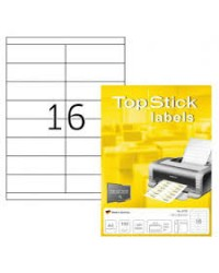 TOP STICK Etiquette universelle, 105 x 33,8 mm, blanc, 16 par feuille, 8732