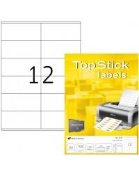 TOP STICK Etiquette universelle, 105 x 48 mm, blanc, 12 par feuille, 8715