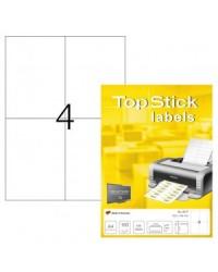 TOP STICK Etiquette universelle, 105 x 148 mm, blanc, 4 par feuille, A6, 8717