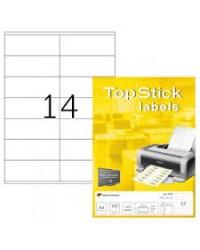 TOP STICK Etiquette universelle, 105 x 41 mm, blanc, 14 par feuille, 8733