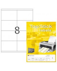 TOP STICK Etiquette universelle, 105 x 70 mm, blanc, 8 par feuille, 8770