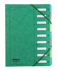 Extendos Trieur à élastique série 237, 9 touches, Carte vert, 237.09