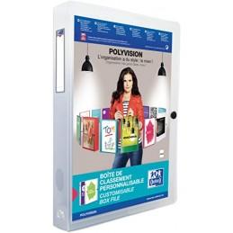 Oxford Boite de classement personnalisable, 40mm, Polyvision, Plastique polypro incolore, 100200142