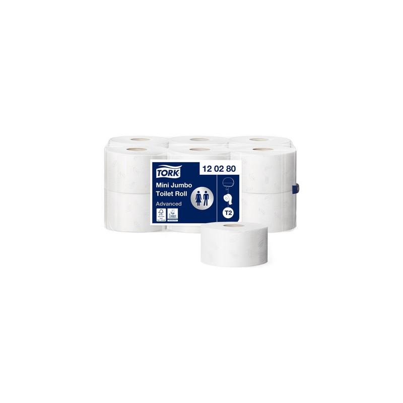 TORK Papier toilette, Mini rouleau Jumbo, 2 plis, blanc, 170m, 120280