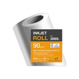 Clairefontaine Bobine de papier, Traceur jet d'encre, Mat, 914 mm x 91 m, 90g, 2669SC