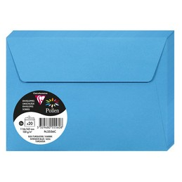 Clairefontaine Enveloppes C6, 114x162, Pollen, Bleu turquoise, 120g, 5556C