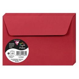 Clairefontaine Enveloppes C6, 114x162, Pollen, Rouge groseille, 120g, 5586C