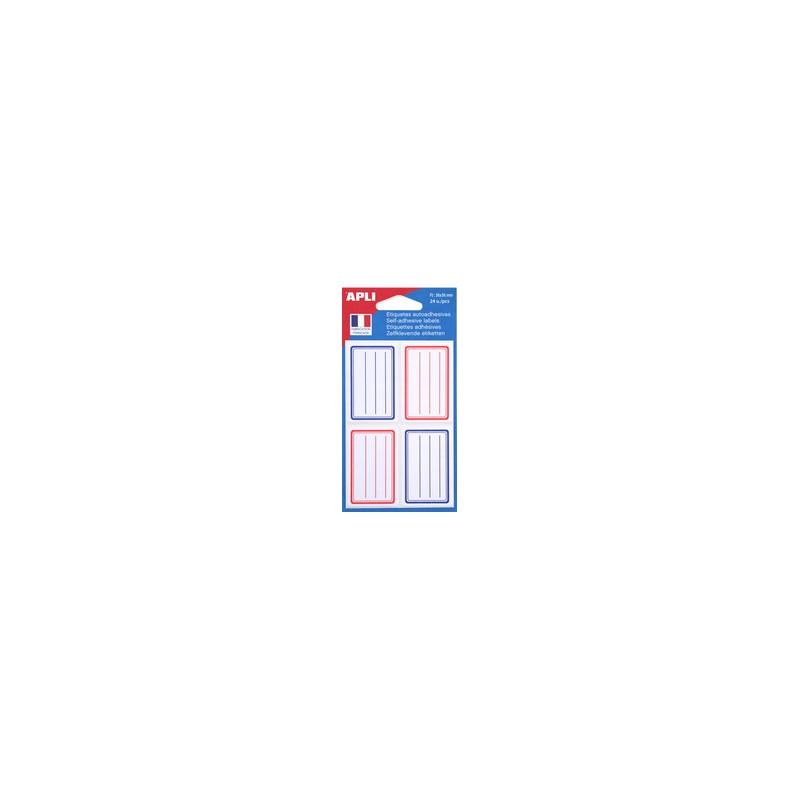Agipa, Etiquettes scolaires, Pour livres et cahiers, Rouge bleu, 36 x 56 mm, Lignées, 011278