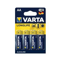 Varta, Pile alcaline, LONGLIFE, Mignon AA, LR6, Paquet de 4, 04106 101 414