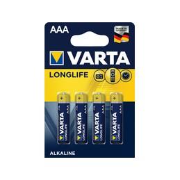 Varta, Piles alcaline, LONGLIFE, Micro AAA, LR03, Blister de 4, 04103 101 414