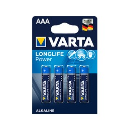 Varta, Piles alcaline, LONGLIFE Power, Micro AAA, LR3, Blister de 4, 04903 121 414