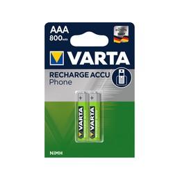 Varta, Piles pour téléphones, Accu rechargeable, Micro AAA, HR03,  58398 101 402