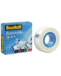 3M Scotch Ruban adhésif Magic 811, détachable, repositionnable, 19 mm x 33 m, 23376