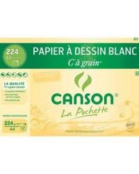 Canson pochette 12F papier dessin blanc à grain A4 224G 200027114