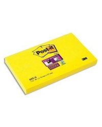 Post it bloc 90F notes SUPER STICKY 76X127 JAUNE 655S 52431