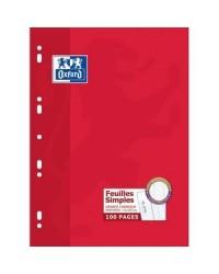 Oxford Feuilles simples perforées, A4, Grands carreaux séyès, étui de 100 feuillets mobiles, 100105664