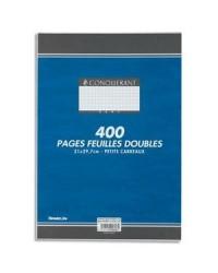 Conquerant Copies doubles non perforées, A4, Quadrillé 5x5, Petits carreaux, étui de 400, 100104884