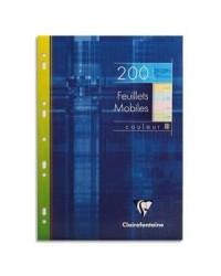 Clairefontaine étui 200 feuilles mobiles A4 21X29.7 grands carreaux SEYES couleurs 17511C