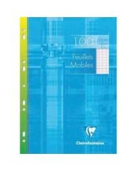 Clairefontaine étui 100 feuilles mobiles A4 21X29.7 grands carreaux SEYES 1731C