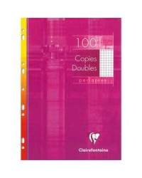 Clairefontaine Copies doubles perforées A4, Quadrillé 5x5 petits carreaux, étui de 100, 4722C