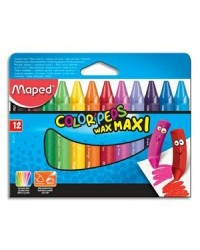 Maped étui 12 crayons cire color peps maxi WAX EARLY AGE 861311