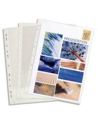 Exacompta Pochettes plastique perforées, PVC Lisse, Transparent, Boite de 100, 3194E