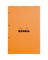 Rhodia Bloc note N°20, A4+ 210x318mm, Perforé, Quadrillé 5x5, petits carreaux, 20200