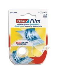 Tesa Film de Ruban adhésif, Double face,12 mm x 7,5 m + dévidoir, 57912-01
