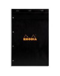 Rhodia Bloc note N°20, A4+ 210x318mm, Perforé, Quadrillé 5x5, petits carreaux, NOIR 202009C