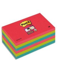 Post it Notes adhésives couleurs, 76X127mm, Collection Bora Bora, Super sticky, Lot de 6, 655-6SS-JP / BP834 / 70005198059