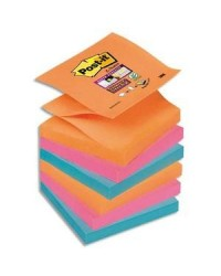 Post it Recharge notes adhésives, Z-Notes, 76X76mm, Electric Glow, Super sticky, Lot de 6, R330-6SS / BP841 / 70005197853