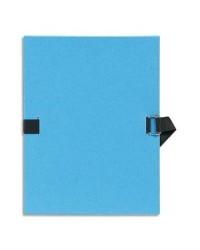 Exacompta Chemise extensible, Sangle, Papier toilé, Bleu clair, 722E