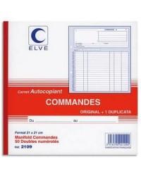 Elve carnet autocopiant COMMANDES 21X21 50/2 DUPLI 2109