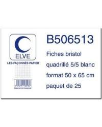 Elve sachet 25 fiches bristol 50X65 petits carreaux 5X5 B506513