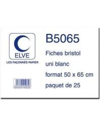 Elve sachet 25 fiches bristol 50X65 BLANC B5065