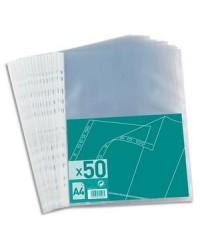 1ER sachet 50 pochettes plastique perforées polypro 4/100E 100206908
