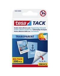 Tesa Tack Pastilles adhésives, Double face, Transparent, Boite de 200, 59401-00000-01
