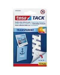 Tesa Tack Pastilles adhésives, Double face, Transparent, Boite de 72, 59408-00000-00